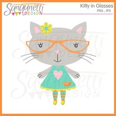 Hey, I found this really awesome Etsy listing at https://www.etsy.com/listing/209904362/kitty-in-glasses-single-clipart