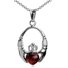 """Honey Amber and Sterling Silver Irish Claddagh Pendant, 18"""" ** More info could be found at the image url."""