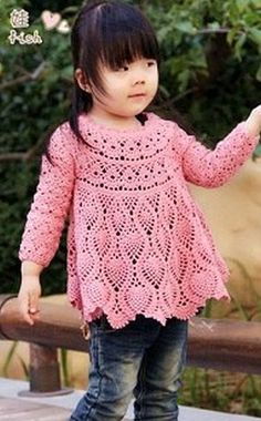 Dress-tunic for girls crocheted