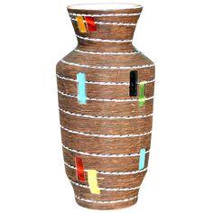 Vintage Bitossi Italian Art Pottery Incised Carved Vase, 1960's.