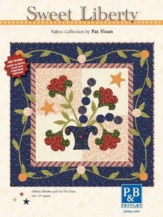 Liberty Blooms Quilt Wall Hanging by Pat Sloan with free pattern