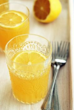 #Drink #Recipe / Green tea, orange, peach and mango cooler