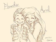 Flounder and Ariel. Awweee