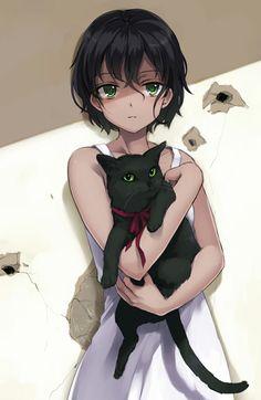 ☆ #AnimeTime ☆ ✮ ANIME ART ✮ animal. . .anime girl with animal. . .short hair. . .shadows. . .black cat. . .ribbon. . .mysterious. . .cute. . .kawaii