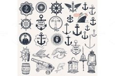 Set of nautical elements Graphics Vector. Set of nautical elements by OneVectorStock City Illustration, Business Illustration, Pencil Illustration, Fisher, Art Inspiration Drawing, En Stock, Creative Sketches, Paint Markers, Business Card Logo