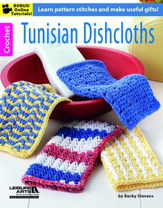 Tunisian Dishcloths - Create a stylish collection of dishcloths with 17 sassy stitch patterns in Tunisian crochet. It's easy with our step-by-step instructions, close-up photos, and online technique videos. Available at MaggiesCrochet.com