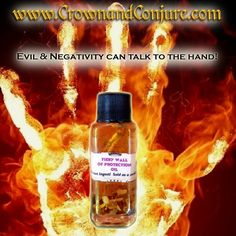 Keep gossiping co-workers, people hurling half-assed magic at you or your family and other negative individuals at bay.  Major protection.  Contains Sandalwood, Ginger, Rue, Agrimony and more.  For use on cubicles, candles and mojo bags.  Not to be worn on the skin.  #CrownAndConjureDotCom #FieryWallOfProtection