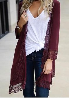 Solid Lace Splicing Long Cardigan