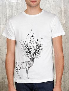 Elk with Tree Antlers - Men's T-Shirt - Available in S, M, L, XL and 2XL on Etsy, 150,00 kr