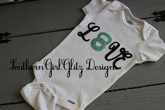 Customizeable CrossFit Love Onesie for Crossfitter-to-be:  Features glittered kettlebell on Etsy, $19.00