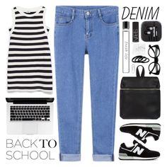 """Back to School: Denim Guide"" by sarahkatewest ❤ liked on Polyvore featuring Retrò, Kara, NARS Cosmetics, Furla, Zara, New Balance, Fresh, Bulgari, BackToSchool and organized"