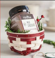 This darling #Longaberger Holiday Little Things Basket has a little something extra inside. With every Holiday Little Things Basket, you'll receive a free Chocolate Powder from Your Inspiration At Home. A traditional chocolate taste that's great hot or cold in a decadent drink, instant mouse or your favorite dessert. #baskets #christmas #holiday #giftidea