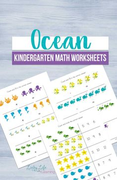 Try these fun ocean kindergarten math worksheets and use these beautiful ocean creatures to make adding, subtracting and skip counting fun for your kids.  #ocean #kindergarten #mathworksheets #math #homeschool
