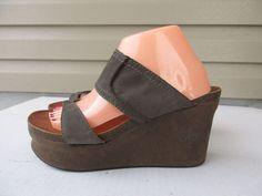 OTBT Brookfield women sandals 9.5 M Olive Leather Platform Wedge #OTBT #PlatformsWedges #Casual