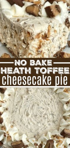 Toffee Cheesecake Pie is a cool and creamy no bake pie. Toffee cheesecake pie has a creamy cheesecake filling, and Heath candy bar pieces all inside an easy store-bought chocolate graham cracker crust. You will love how fast & easy it is to make. Keks Dessert, Dessert Oreo, Smores Dessert, Bon Dessert, Heath Bar Dessert, Heath Candy Bar, Appetizer Dessert, Desserts Nutella, Easy Desserts