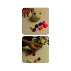 "Tom the Pom Pom Eating Tennis Ball - a great fine motor, strengthening, bilateral coordination activity for kids!! 1. Cut a tennis ball along the lines to make a ""mouth"" 2. Attach googly eyes (I used Velcro dots) 3. ""Feed"" the little monster with mini pom poms Kids have to work hard to squeeze open Tom's mouth with one hand while stuffing him full of poms with the other using a pincer grasp or tongs. You'd be surprised how many poms you can stuff in him! Inexpensive and kids love it!!"