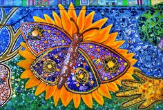 The New Year's Butterfly ~ Lake Shore at Bryn Mawr Mosaic Mural ~ Neighborhood residents working with artists, Tracy Van Duinen and Todd Osborne