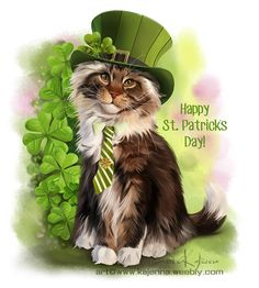 st patrick's day by kajenna I Love Cats, Cute Cats, Funny Cats, Crazy Cat Lady, Crazy Cats, Fete Saint Patrick, Happy St Patricks Day, Saint Patricks, Cute Animal Drawings