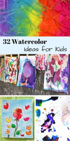 Easy Watercolor Painting Ideas These watercolor painting ideas for kids are so creative and fun. Can't wait to…These watercolor painting ideas for kids are so creative and fun. Watercolor Art Lessons, Watercolor Art Diy, Watercolor Art Paintings, Watercolor Projects, Watercolor Techniques, Painting For Kids, Art For Kids, Toddler Painting Ideas, Learn Painting