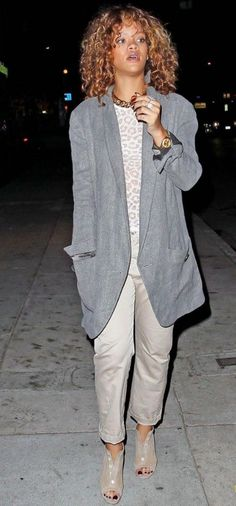 Rihanna wearing Christian Louboutin Maotic Booties and Rebecca Taylor Leopard-Print Knitted Sweater.