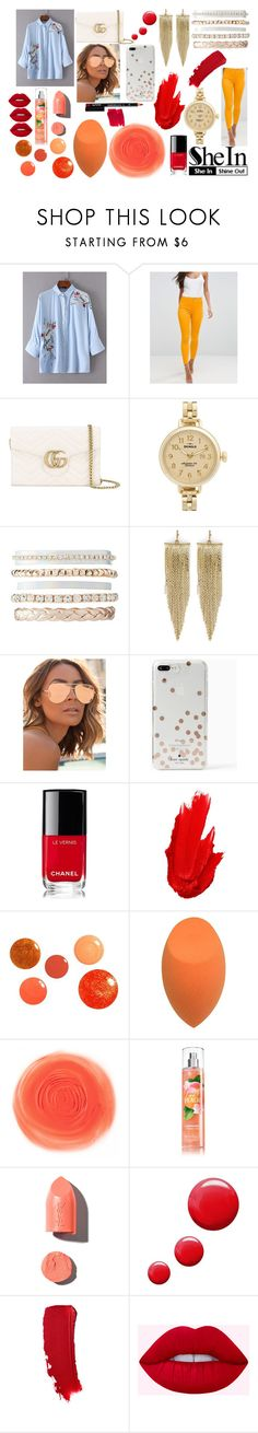 """that ""shein"" girl"" by ilovebrendonurie02 ❤ liked on Polyvore featuring ASOS, Gucci, Shinola, Charlotte Russe, Kenneth Jay Lane, Quay, Kate Spade, Chanel, Maybelline and PUR"