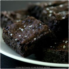 Dark Chocolate Brownies with Sea Salt: A Little Bit Crunchy A Little Bit Rock and Roll #dessert