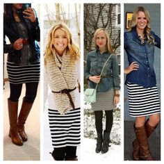Chambray. Black and white stripped skirt. Tights. Boots.