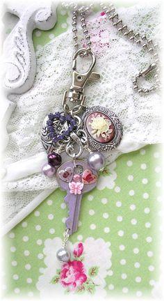 Vintage Key Zipper Purse Pull Bag Charm Key Fob Cameo Guilloche Roses Enamel Flowers Shabby Chic Patina Purple Heart <3