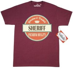 Inktastic Sheriff Funny Gift Idea T-Shirt Retired Quality Premium Occupations Job Vintage Logo Career Mens Adult Clothing Apparel Tees T-shirts Hws, Size: Large, Red