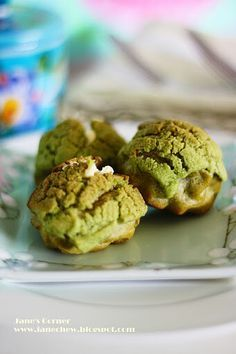 Matcha Choux with Cream cheese | Get Your Own Boutique Organic Matcha Today: http://www.amazon.com/MATCHA-Green-Tea-Powder-Antioxidants/dp/B00NYYVWFQ