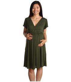 Christin Michaels Maternity Sedson Sassy Dress Olive - 6pm.com - Made in USA $20