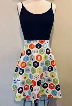 A personal favorite from my Etsy shop https://www.etsy.com/listing/591542745/science-hexagon-nerd-geek-skirt
