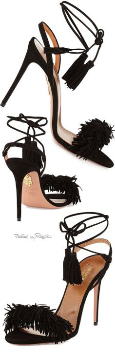 Aquazzura ~ Wild Thing Black Suede Sandals 2015 at Neiman Marcus