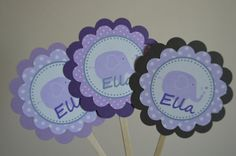 Elephant Baby Shower Cupcake Toppers  by SweetEPaperBoutique, $10.00