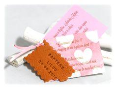 Faire-part biscuit personnalisé, étiquette fille rose coeur  www.fabriquedemeline.com modèle déposé avril 2014, toute reproduction interdite