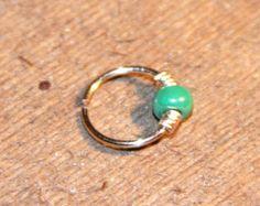 Small Cartilage Earrings, 20 22 24 gauge Metallic Green Beaded Nose Ring, Nose Hoop,  Ear Cuff, Helix Hoop, Nose Rings, Piercing Jewelry