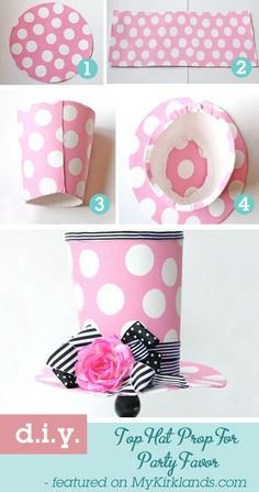This would be super cute for a Mad Hatter Tea/Unbirthday party!    Top Hat Party Favor courtesy of @Sarah Chintomby Chintomby Chintomby Kirkland and @Design Dazzle.