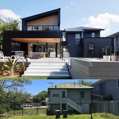 home remodel exterior White Exterior Houses, Exterior Stairs, Home Design Decor, Modern House Design, Australian Homes, New Home Designs, Facade House, House Front, Home Remodeling