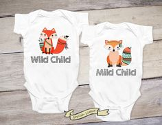 Funny Twin Onesies® - Wild Child, Mild Child, Twin Girls, Twin Boys, Twin Tshirts, Gift for Twins, Newborn Twins Shirt, Twin Toddler Shirts by StylishLittles on Etsy https://www.etsy.com/listing/472769478/funny-twin-onesies-wild-child-mild-child