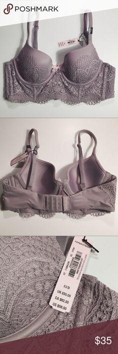 NWT - VS Purple/Gray Longline Bra, 32B NWT - VS longline lace bra in a purple/gray color, size 32B. Victoria's Secret Intimates & Sleepwear Bras
