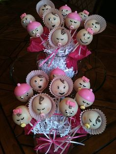 Tickled pink baby girl cake pops. https://www.facebook.com/Kimssweetkarma