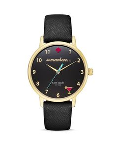 kate spade new york 5 O'Clock Somewhere Leather Strap Watch, 34mm | Bloomingdale's