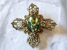 Vintage Enamel and Gold Tone Maltese Cross by MuskRoseVintage