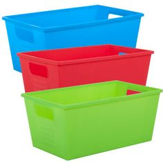 """A colorful solution to all your storage needs! Plastic locker bins measure 11-7/8x7-1/8x5-1/8""""H and are perfect for storing craft and school supplies, sewing supplies, hardware, bath essentials,"""