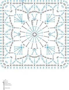 Crochet Motif Patterns, Crochet Blocks, Granny Square Crochet Pattern, Crochet Diagram, Crochet Chart, Crochet Squares, Knitting Patterns, Motifs Granny Square, Granny Squares