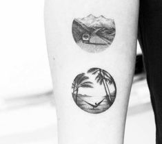 Black and grey mini dotwork circle tattoo style of Landscape motive done by artist Amanda Piejak
