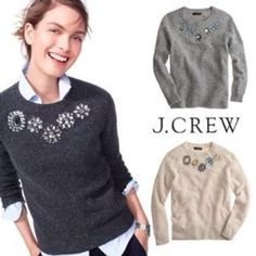 LOWEST J. Crew jeweled neck sweater This is the dark charcoal color. Has multi colored specks throughout and clear stones. All stones in tact, none missing and no loose threading. Fits slightly more snug than I'd like. Size med, best for a size 6-8, especially if layering. In lovely condition! J. Crew Sweaters