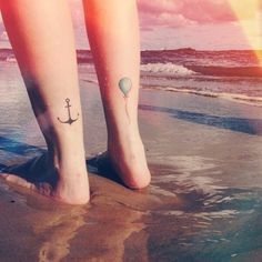 Anchor and balloon tattoo
