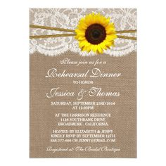 Sunflower Wedding Rehearsal Dinner Rustic Sunflower Wedding Rehearsal Dinner Card
