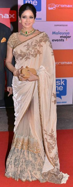 Sridevi looked beautiful in a beige saree with golden thread-work at SIIMA Awards 2014 Fashion Mode, India Fashion, Asian Fashion, Beautiful Saree, Beautiful Outfits, Beautiful Life, Indian Dresses, Indian Outfits, Indian Bridal Fashion